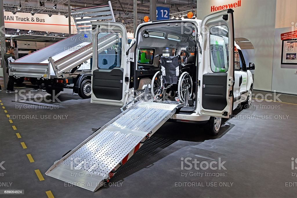 Handicap van with ramp on the motor show stock photo