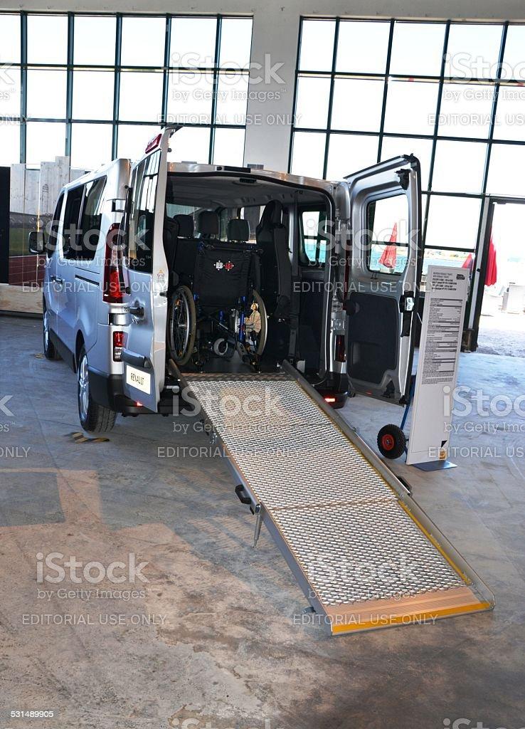 Handicap van with wheelchair ramp stock photo