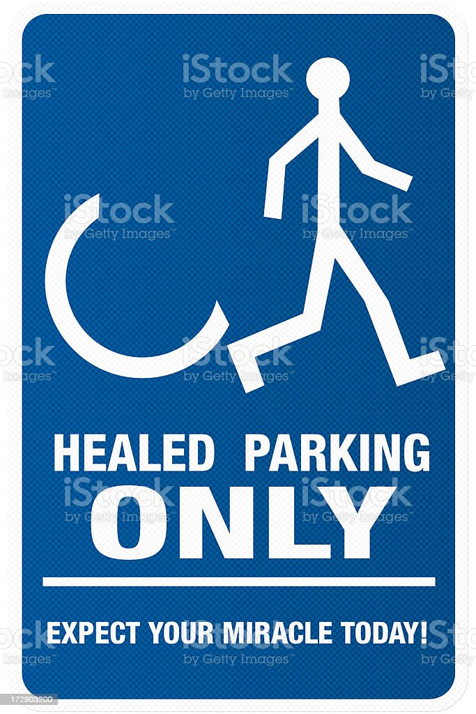 Handicapped parking sign rethought stock photo