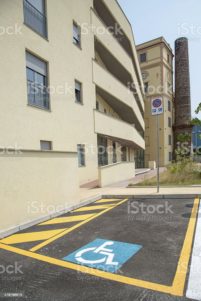 handicapped parking space in new building royalty-free stock photo