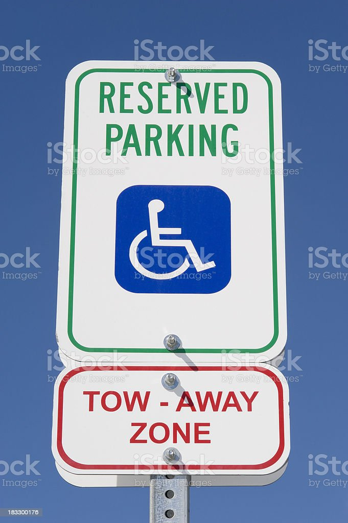 Handicapped Parking Street Sign stock photo