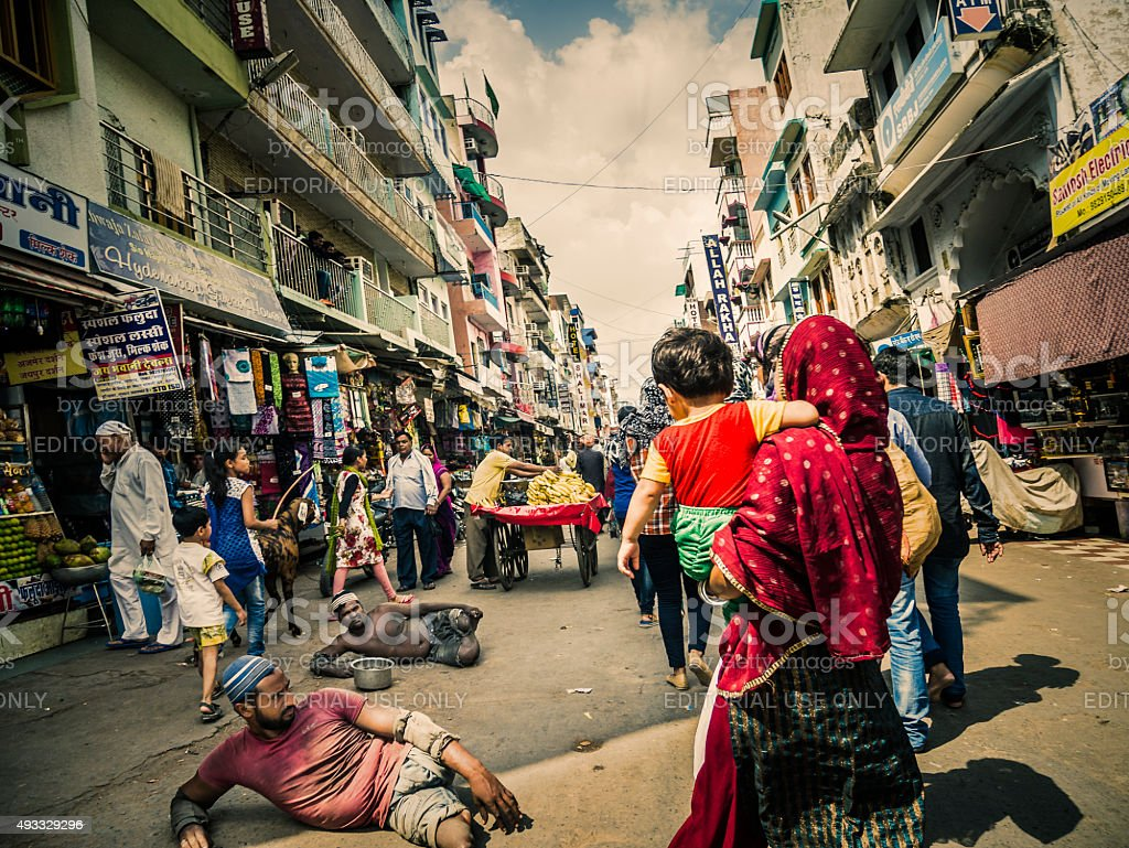 Handicapped people begging on the streets in Ajmer India stock photo