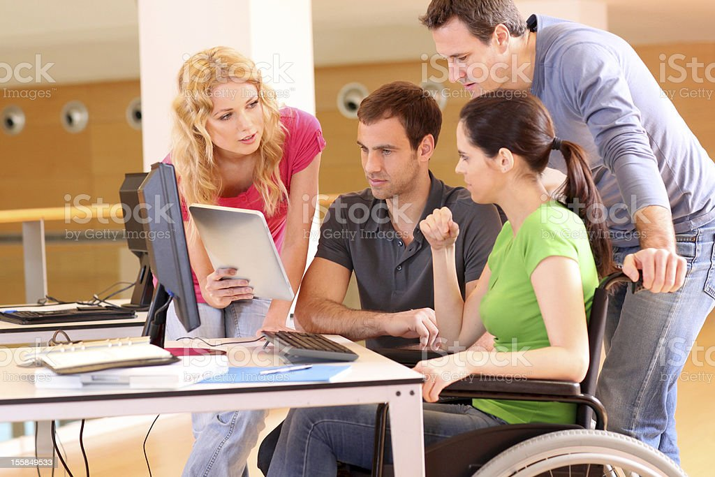 Handicapped person at work stock photo