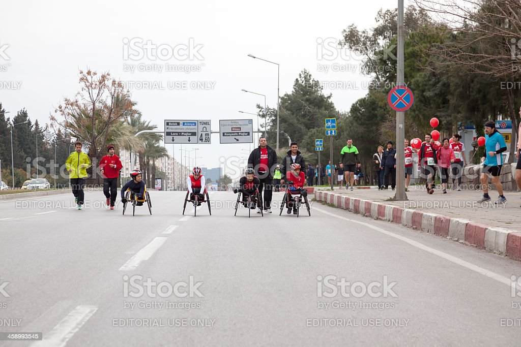Handicapped racers royalty-free stock photo