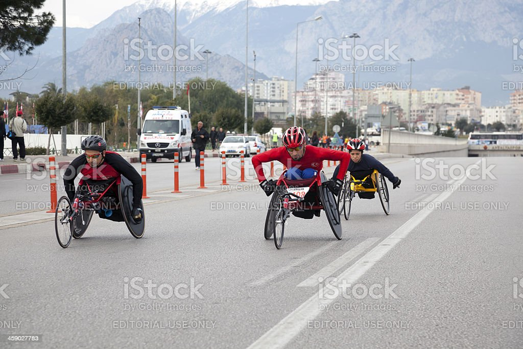 Handicapped racers stock photo