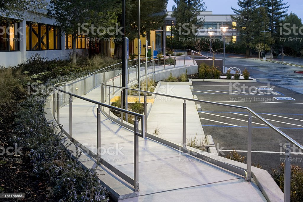 Handicapped Ramp and parking, California stock photo