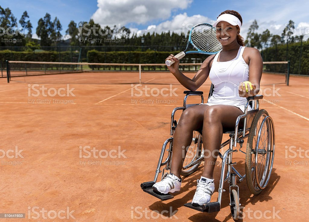 Handicapped tennis player stock photo
