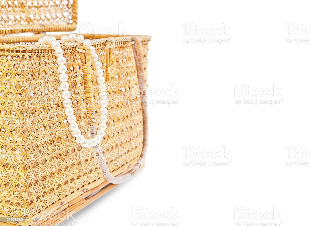 Handicraft chest and pearls royalty-free stock photo