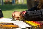 Handicraft. Hand weaving loom.