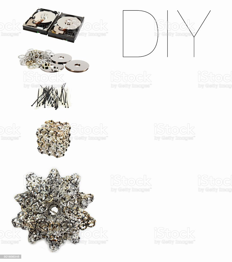 DIY handicraft project from old scrap hard drives. stock photo