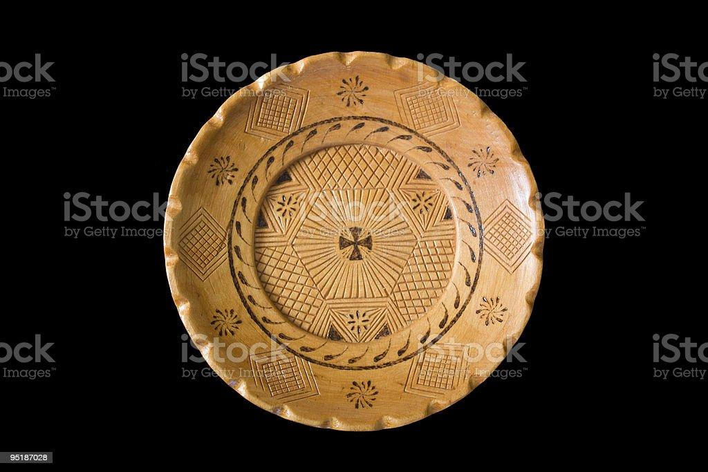 handicraft wooden dish stock photo