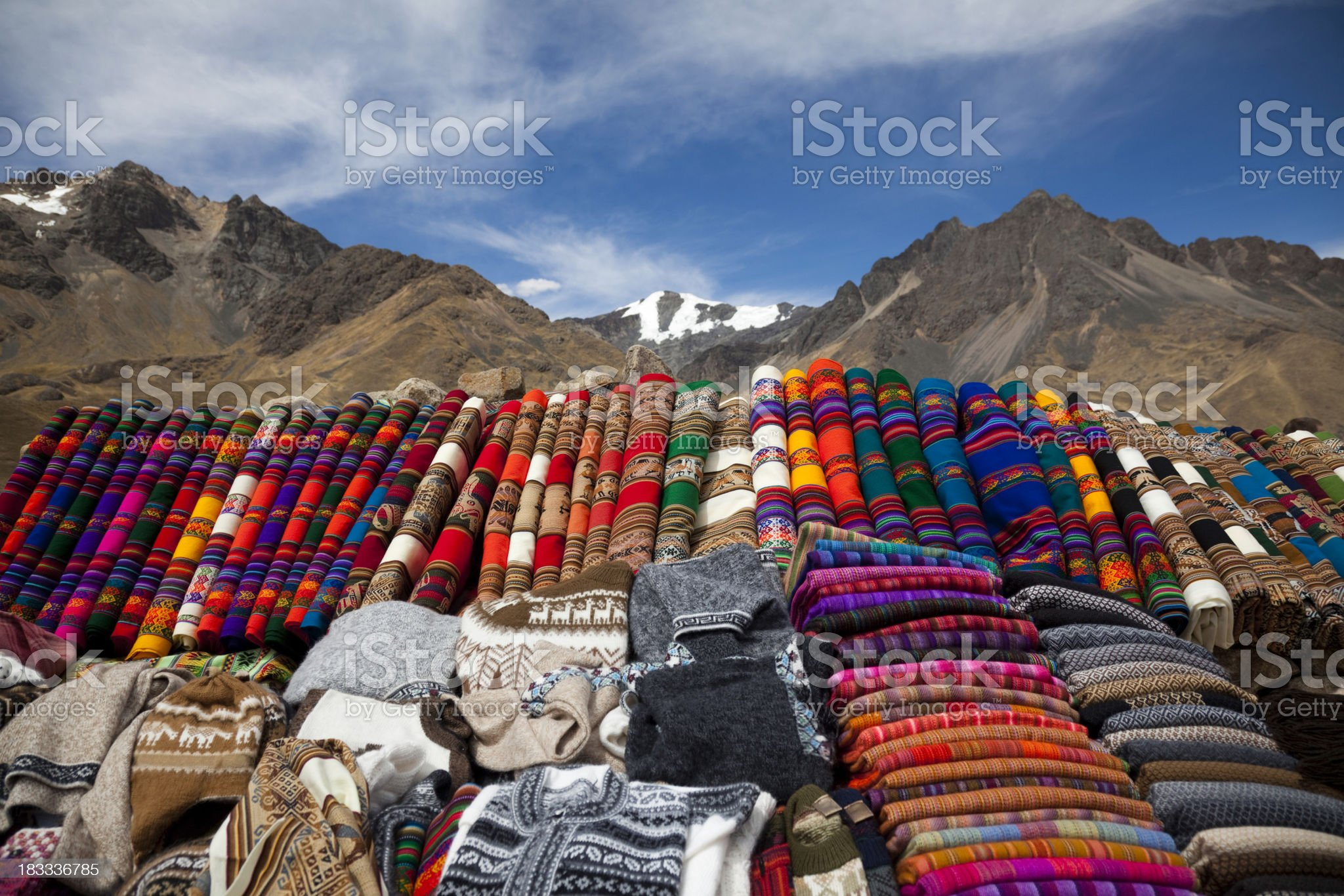 Handicrafts in The Andes of Peru royalty-free stock photo