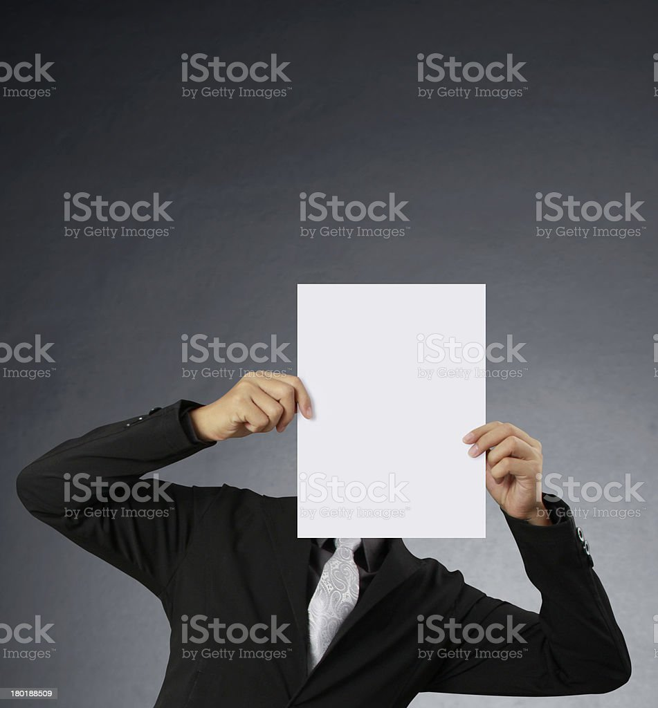 handing a blank business card over royalty-free stock photo