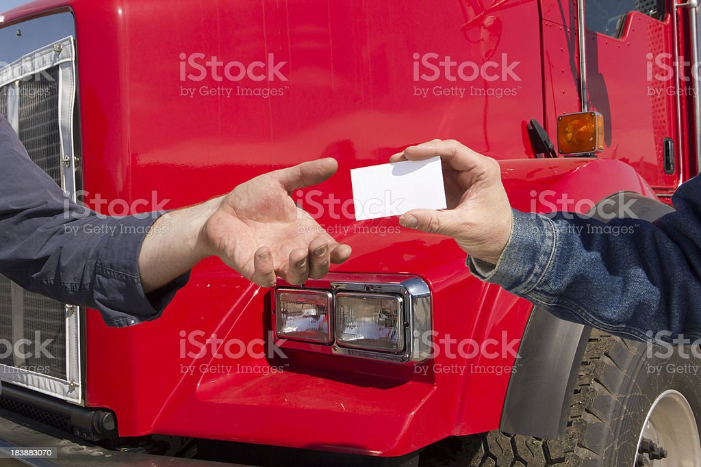 Handing a Card royalty-free stock photo