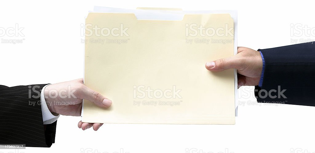 Handing File Folder stock photo