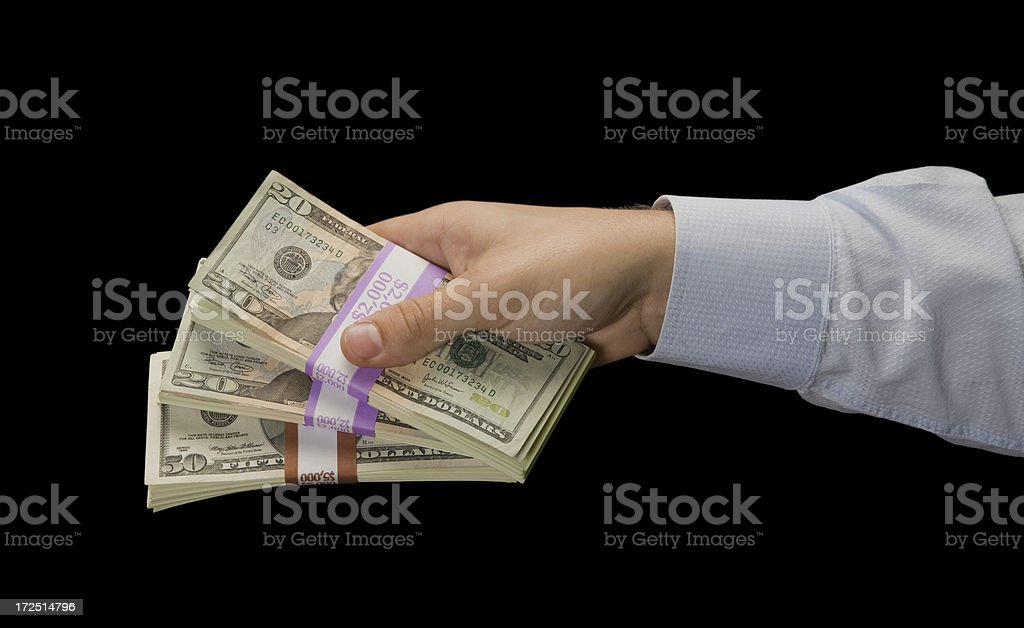 Handing out Cash royalty-free stock photo