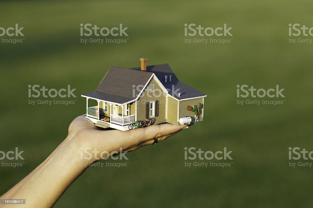 Handing over a house stock photo