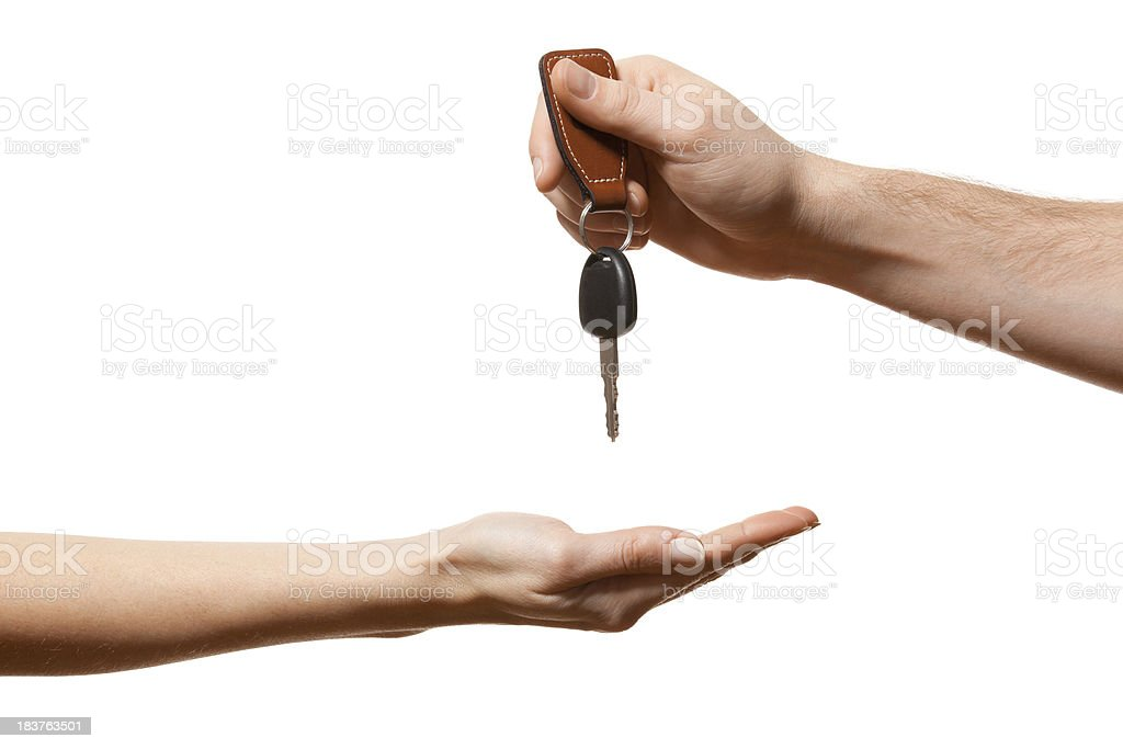 Handing over the key royalty-free stock photo