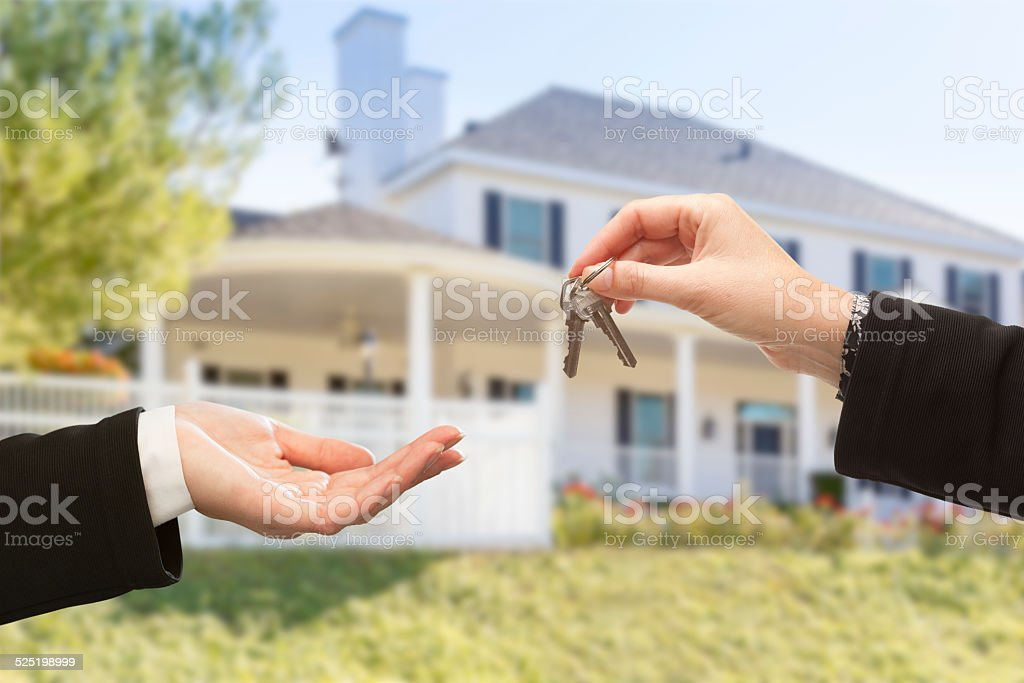Handing Over The Keys and New House stock photo