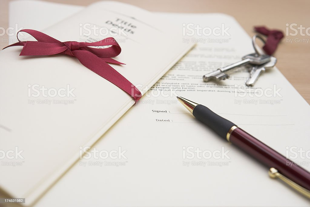 Handing over the Title Deeds stock photo