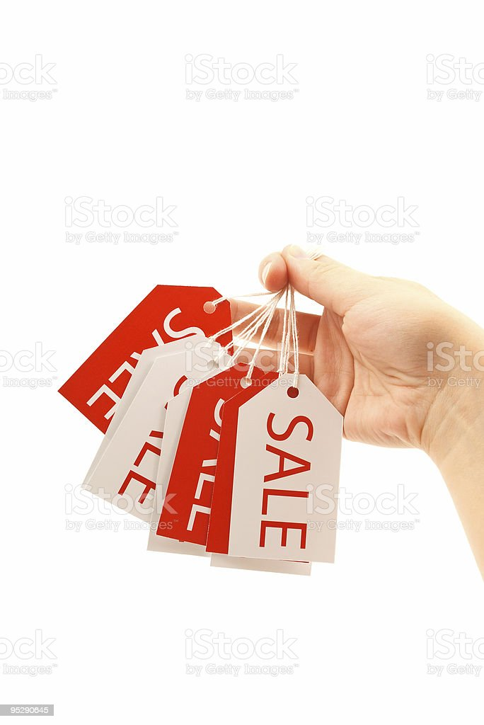 Handing Sale Tags royalty-free stock photo