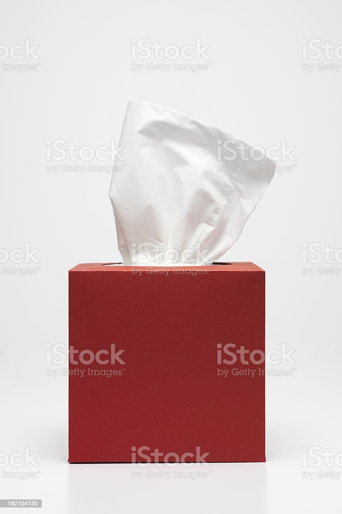 Handkerchief and red tissue box stock photo