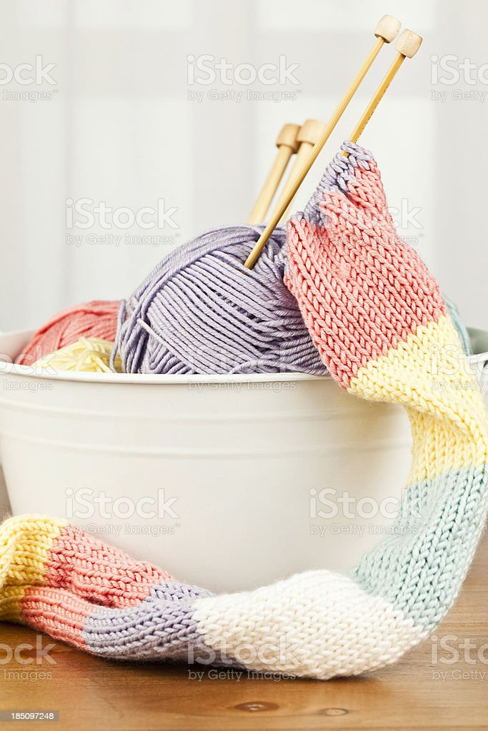 Handknitted Scarf and Yarn stock photo