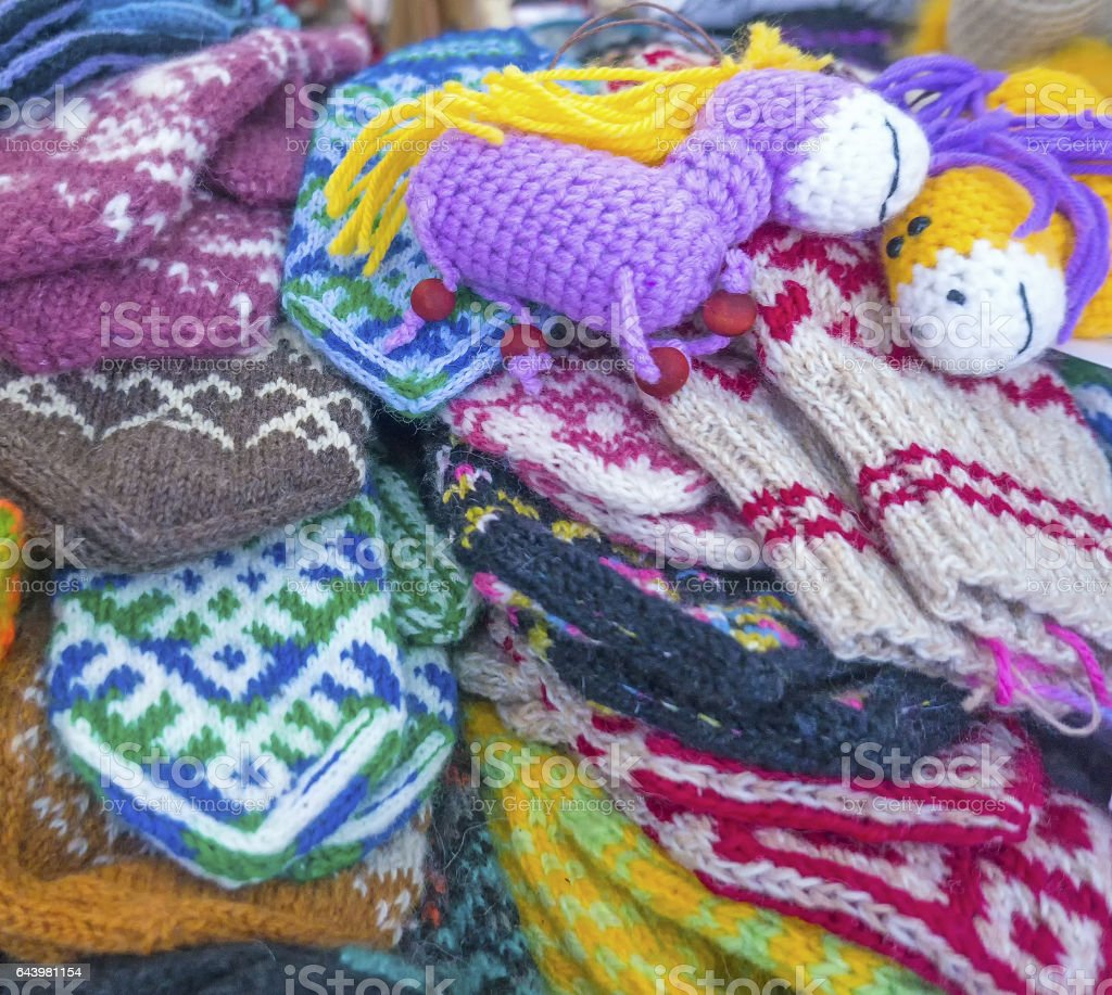 hand-knitted socks, mittens, wool, sell homemade stock photo