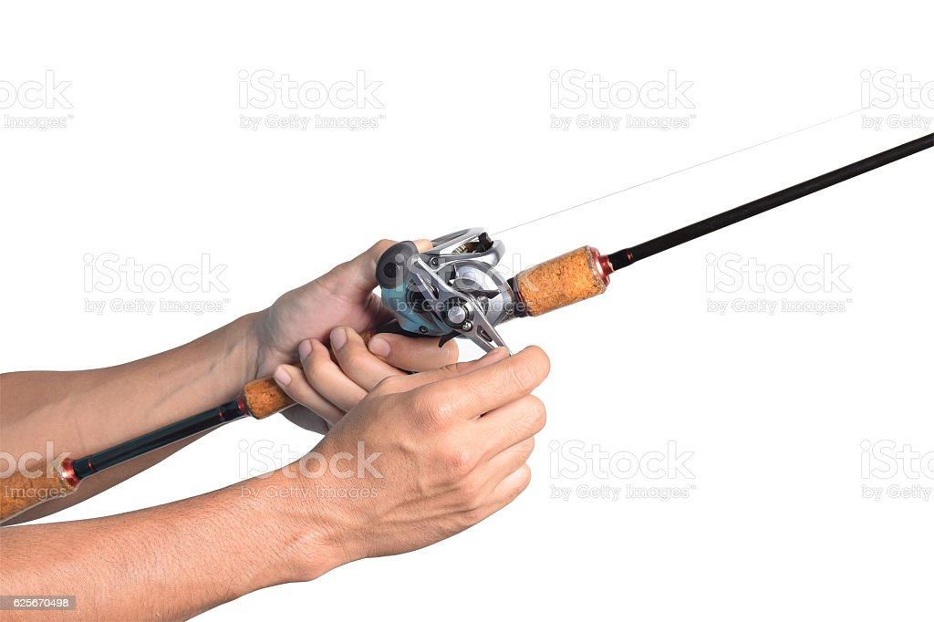 Handle a fishing rod isolated on white background stock photo