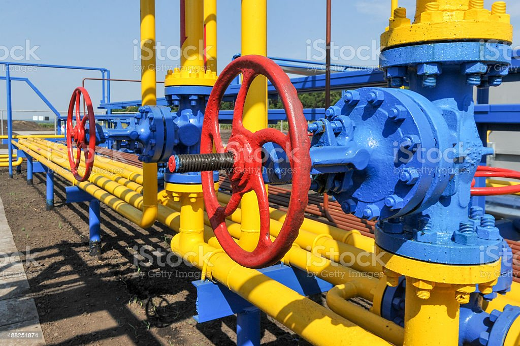 Handle gate valve with steel pipe stock photo