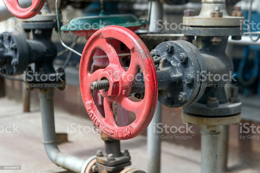 Handle gate valve with steel pipes stock photo