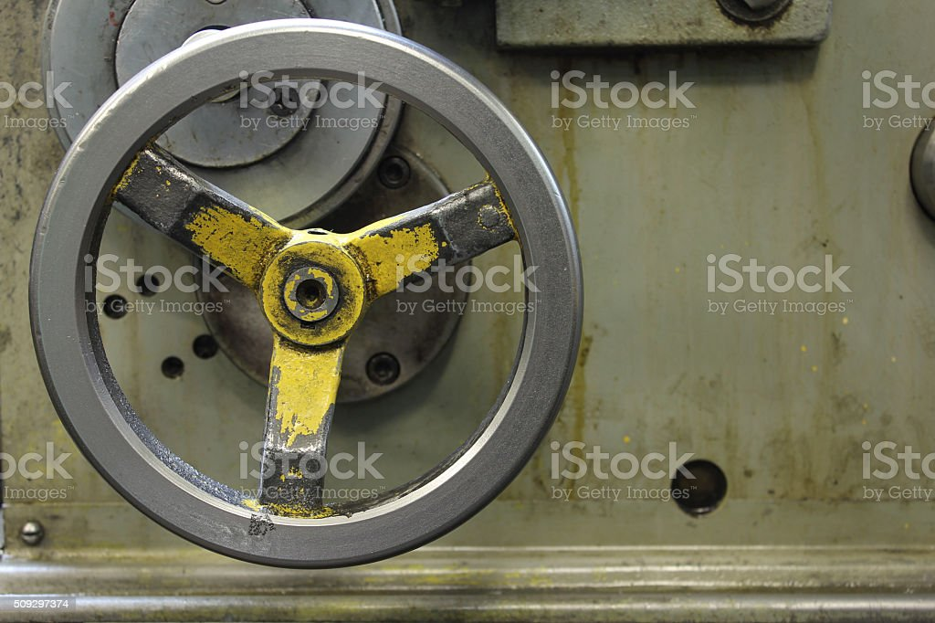 Handle longitudinal feed lathe stock photo