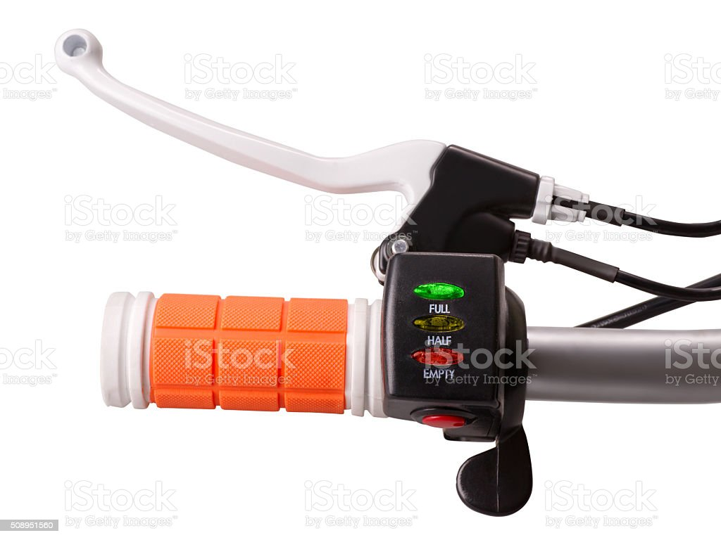 Handle of e-bike with battery indicator and power switch stock photo