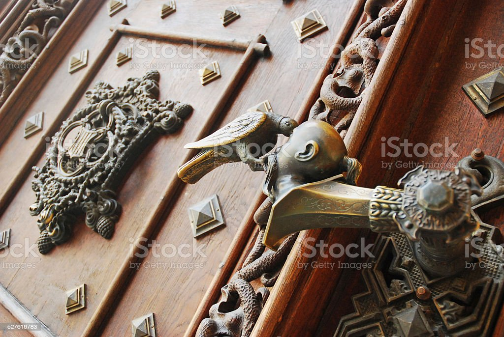 Handle of gate in the castle Hluboka nad Vltavou stock photo
