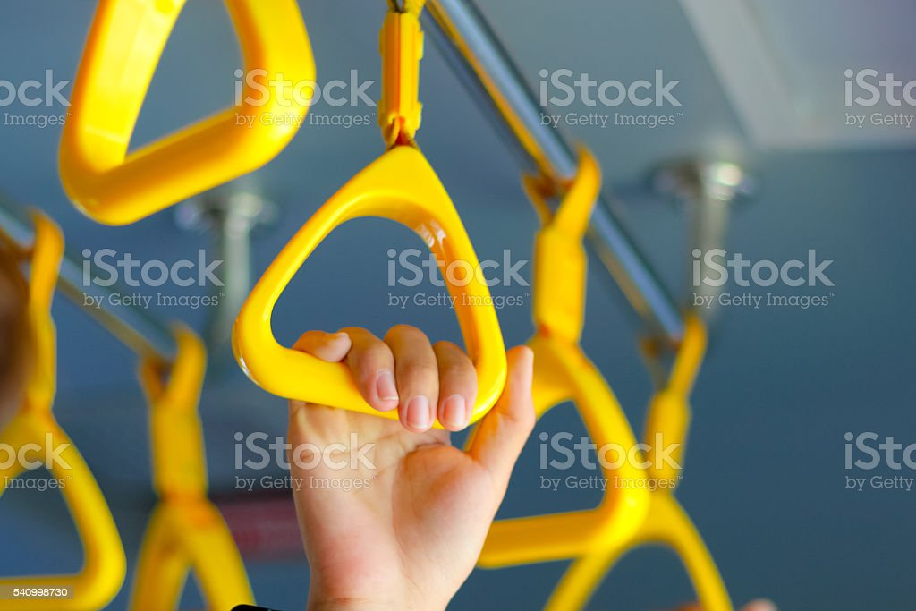 handle on the MRT, prevent toppling.underground railway system o stock photo