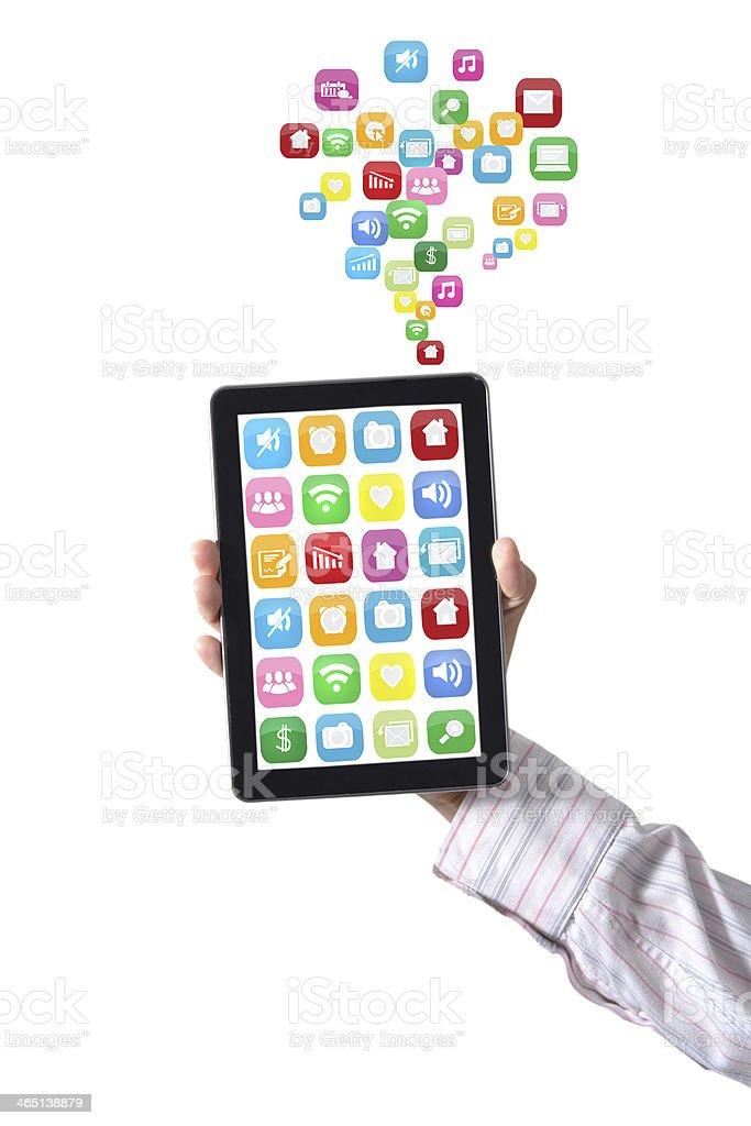 Handle the tablet medium. royalty-free stock photo