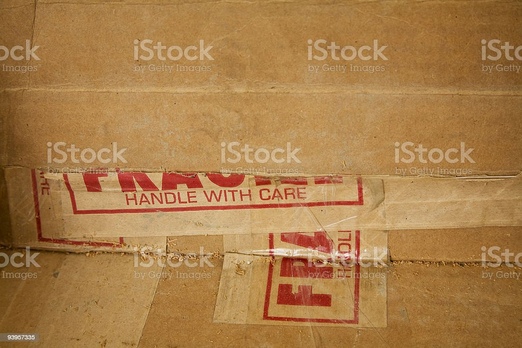 Great background with parts of a handle with care label. Torn packing...