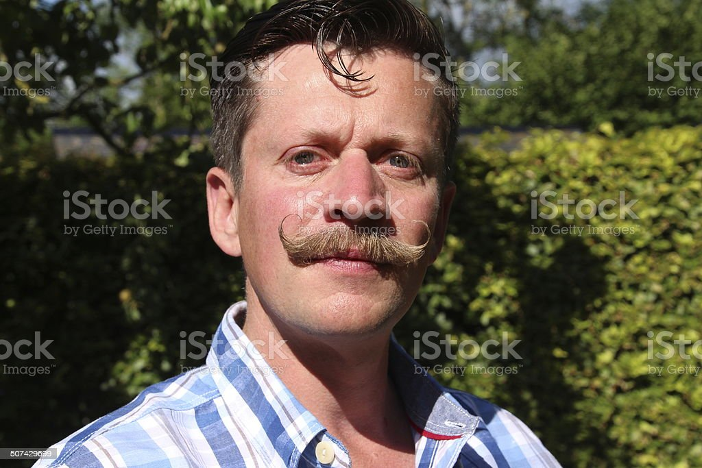 Handlebar moustache stock photo