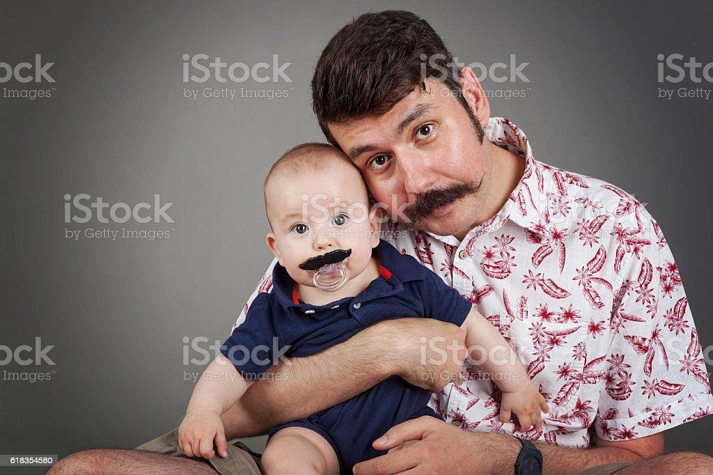 Handlebar Mustache family tradition stock photo