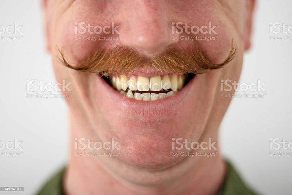 Handlebar Mustache Man stock photo