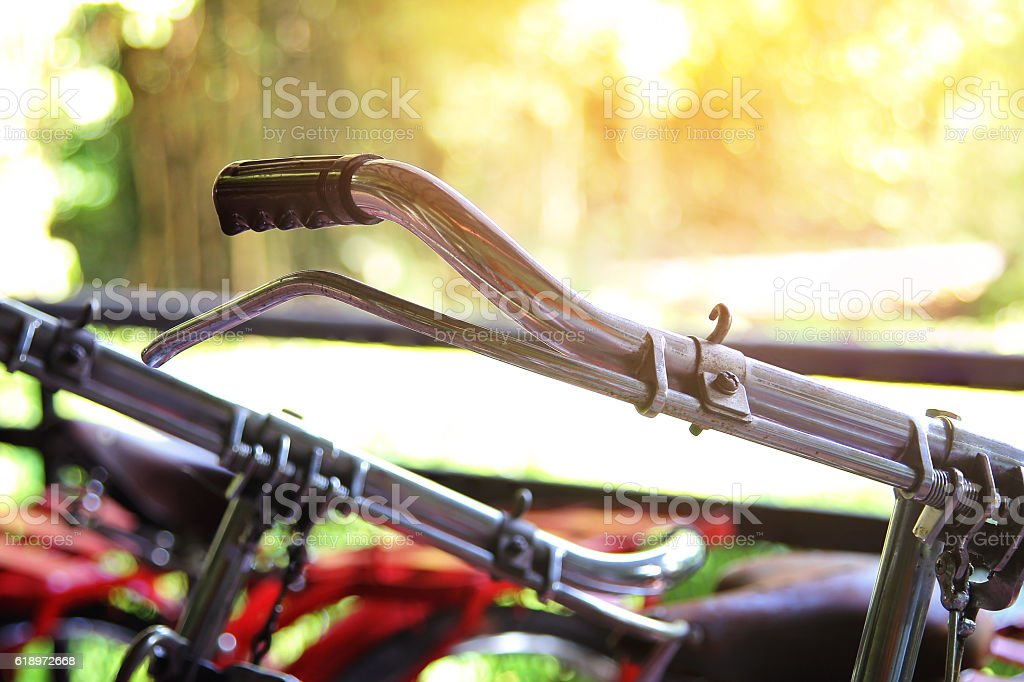 Handlebar of a bicycle stock photo