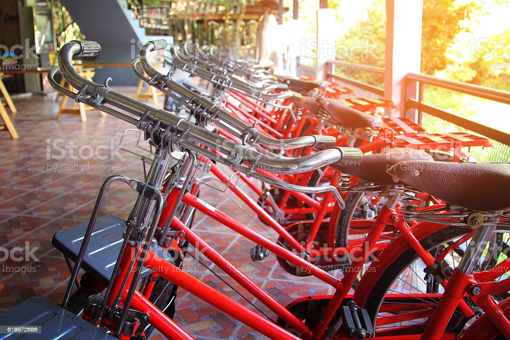 Handlebar of red retro bicycles stock photo