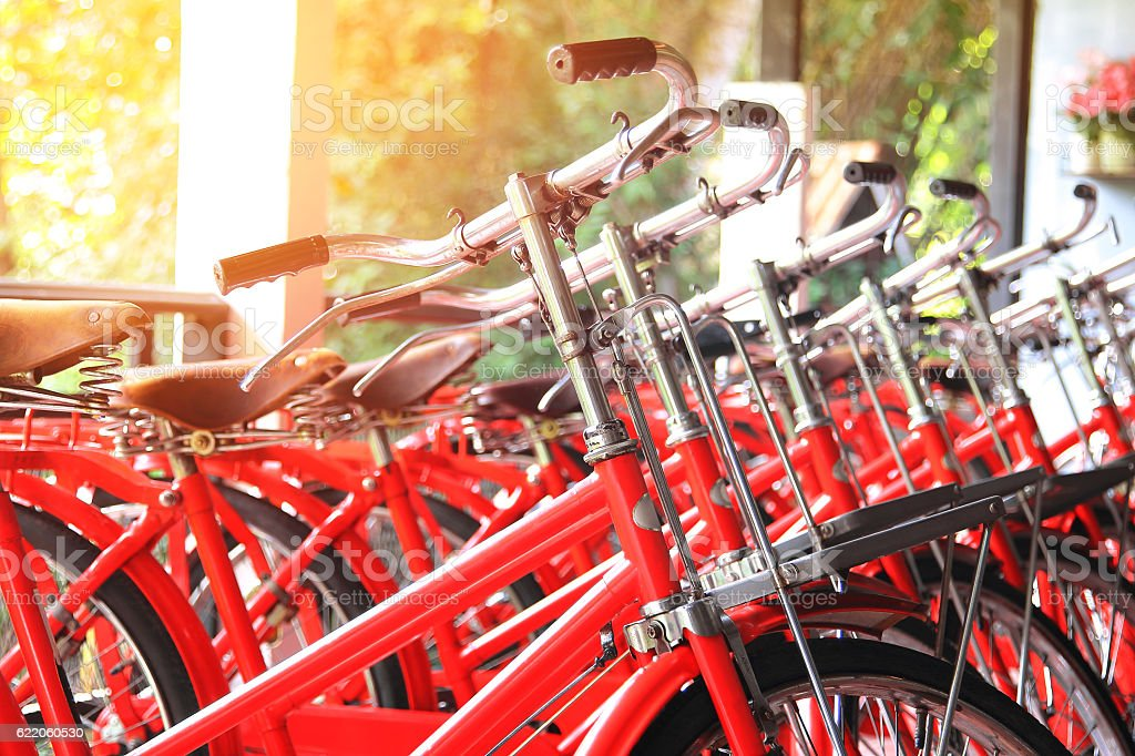 Handlebar of red retro bicycles stock photo