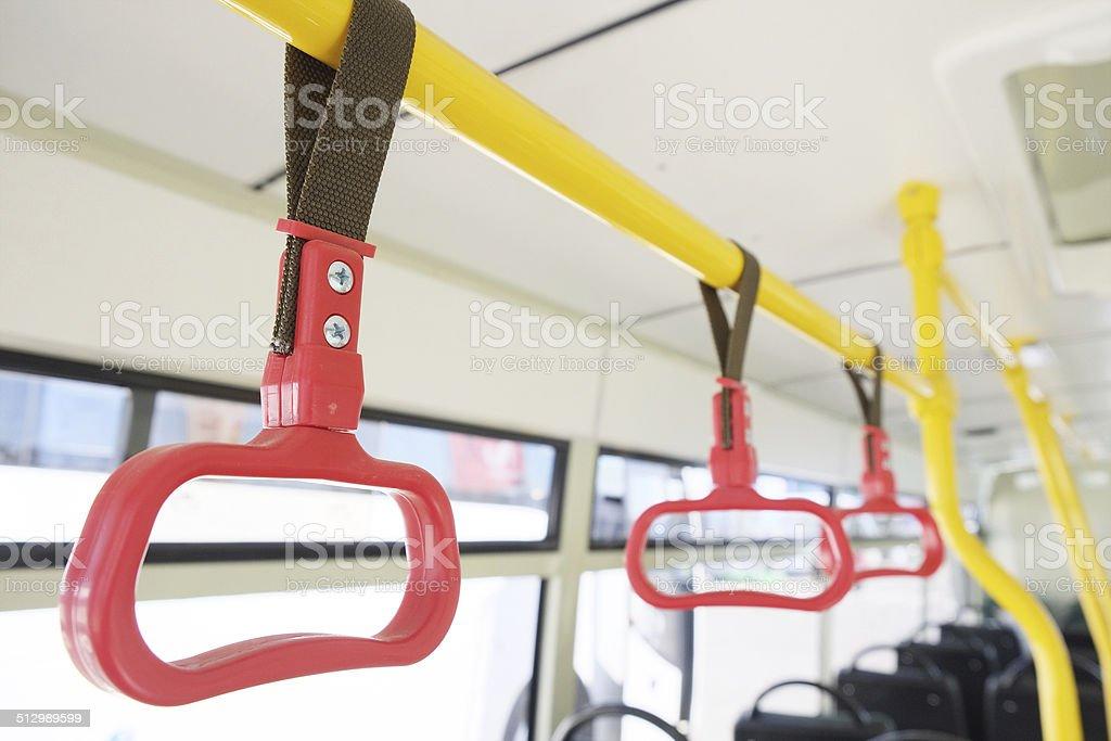 Handles for standing passengers stock photo