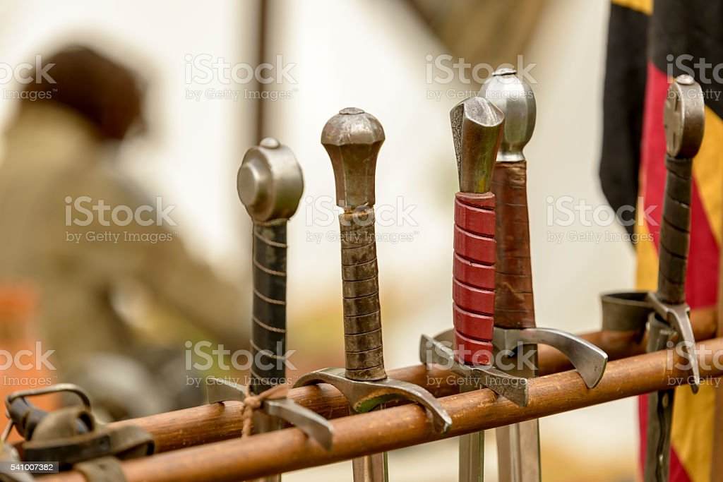 handles of swords stock photo