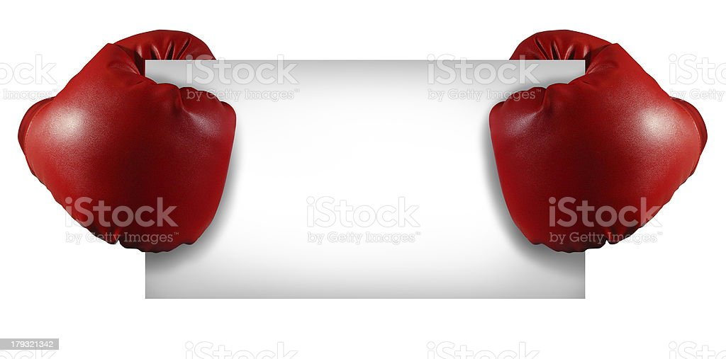 Handless boxing gloves holding blank white sign stock photo