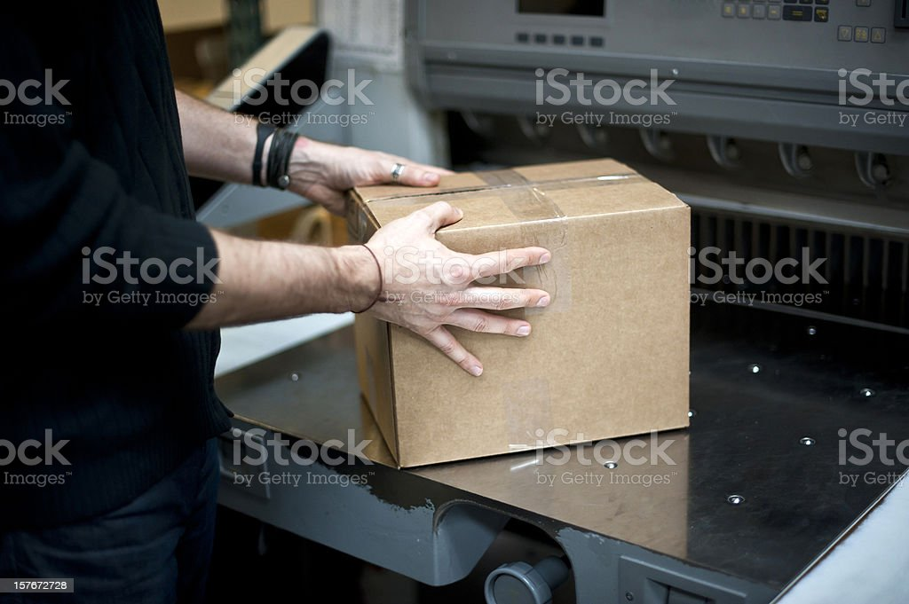 Handling a package royalty-free stock photo