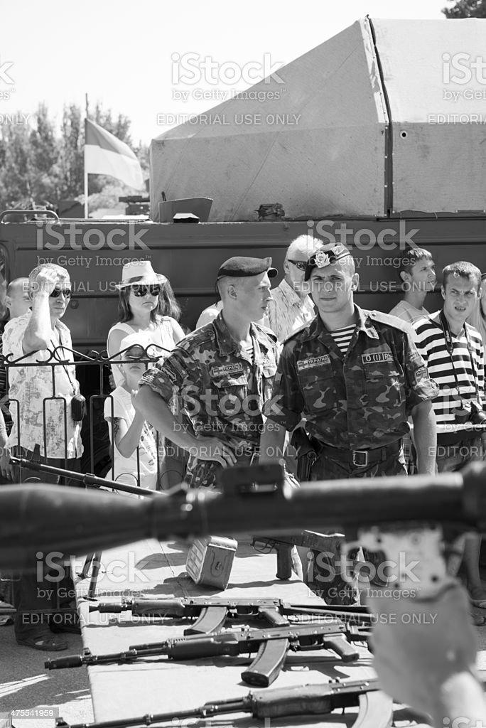 Handling a rocket propelled grenade in Sevastopol stock photo