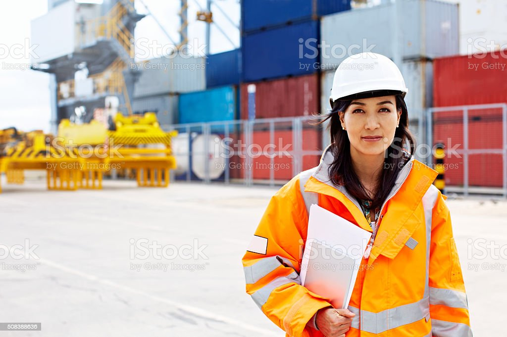 Handling all imports and exports stock photo