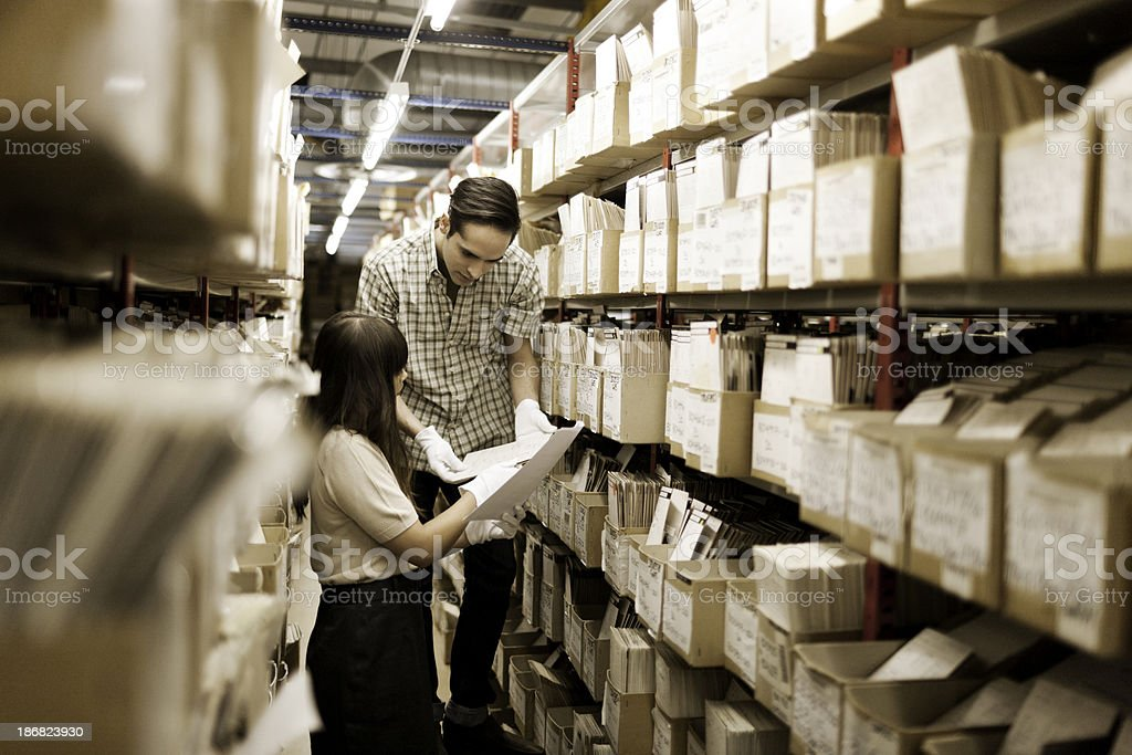 Handling archived material stock photo